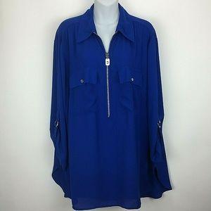 Michael Kors 2X Blue Womens Top Shirt Blouse Sheer